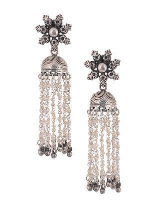 Tribal Silver Jhumki Earrings with Pearls