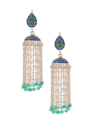 Blue Green Enameled Tribal Silver Jhumki Earrings with Pearls