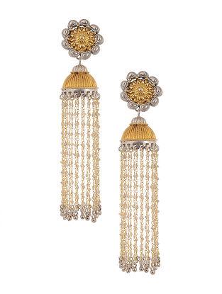 Dual Tone Tribal Silver Jhumki Earrings with Pearls