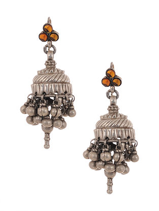 Orange Tribal Silver Jhumki Earrings