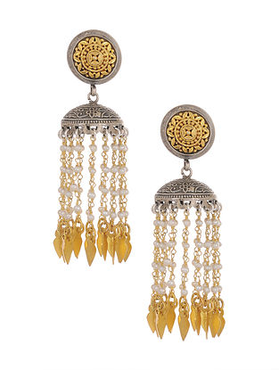 Dual Tone Tribal Silver Jhumki Earrings