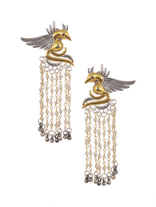 Dual Tone Tribal Silver Jhumki Earrings with Pearls
