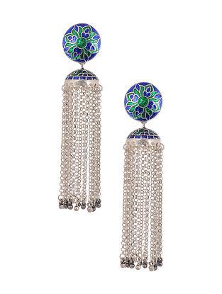 Blue Green Enameled Tribal Silver Earrings with Pearls