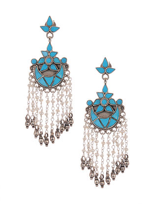 Turquoise Tribal Silver Earrings with Pearls