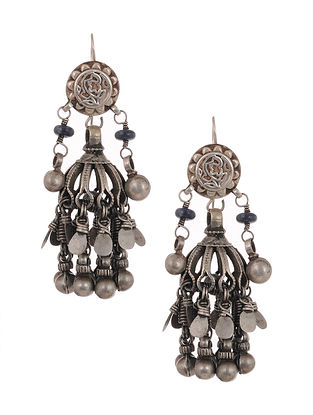 Blue Tribal Silver Jhumki Earrings