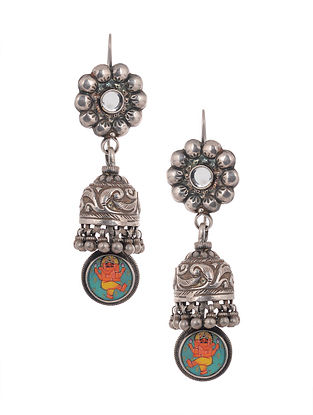 Tribal Silver Jhumki Earrings with Lord Ganesha Motif