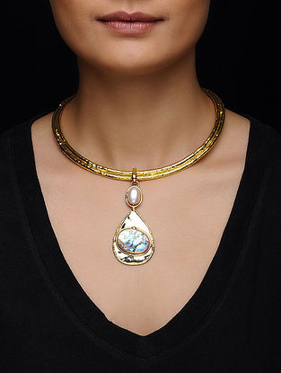 Abalon Shell and Pearl Gold Tone  Necklace