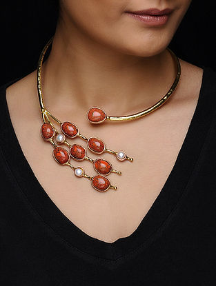 Coral Turquoise and Pearl Gold Tone Necklace