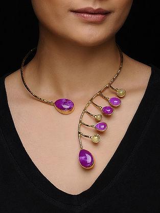 Ruby-Prehnite Gold Tone Necklace
