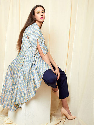 Yellow-Blue Block-printed Khadi Cotton Jacket