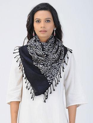 Black-White Block-printed Cotton-Silk Stole