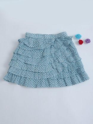 Blue-White Geometric Print Layered Cotton Skirt