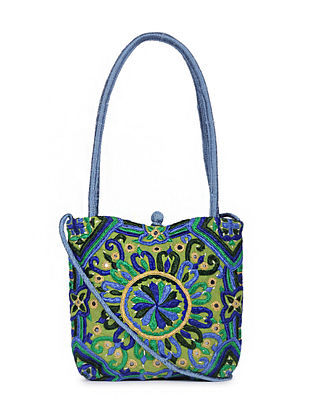 Multicolored Embroidered Dupion Silk Sling Bag