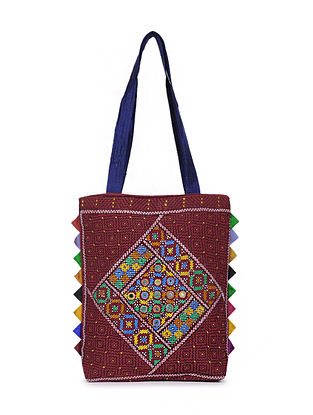 Multicolored Embroidered Mashru Silk Tote Bag