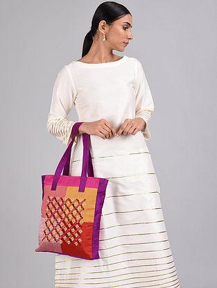 Multicolored Embroidered Dupion Silk Tote Bag