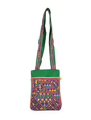 Multicolored Embroidered Dupion Silk Tote Bag