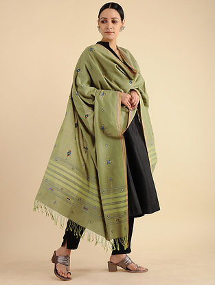 Green Soof Embroidered Cotton Dupatta