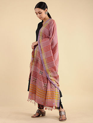 Pink-Yellow Pakko Embroidered Cotton Dupatta