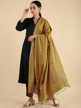 Brown Soof Embroidered Cotton Dupatta