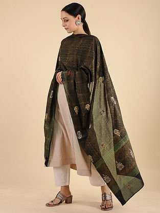 Black-Green Ahir Embroidered Voile Dupatta