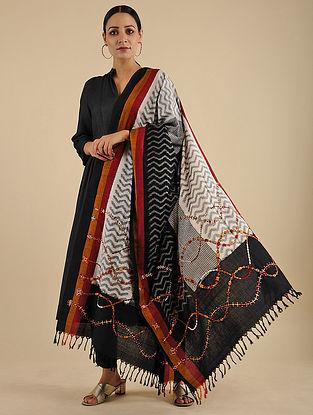 Ivory-Black Neran Embroidered Ikat Cotton Dupatta