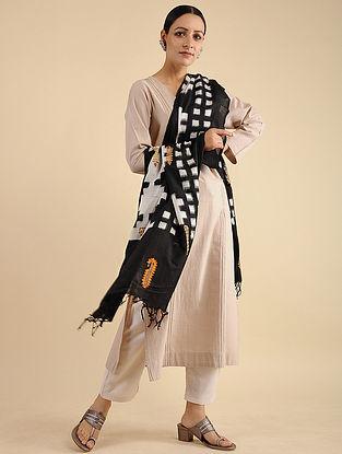Black-White Pakko Embroidered Ikat Cotton Dupatta