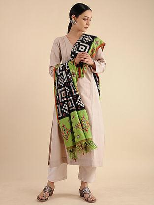 Green-Black Neran Embroidered Ikat Cotton Dupatta