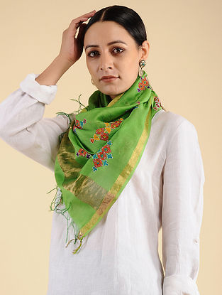 Green-Red Chopad Embroidered Maheshwari Stole with Zari