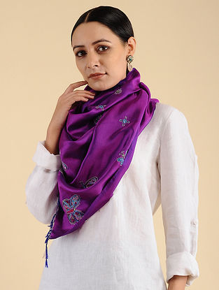 Purple Ahir Embroidered Maheshwari Silk Stole