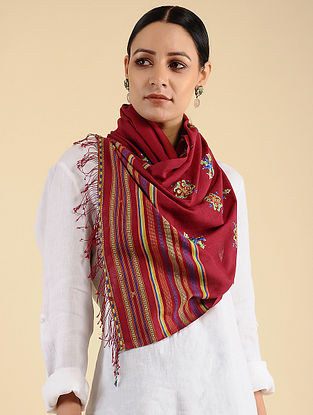 Red-Blue Pakko Embroidered Cotton Stole