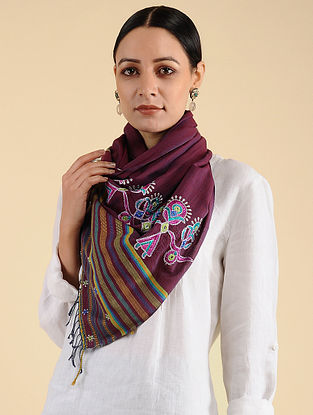 Maroon-Pink Ahir Embroidered Cotton Stole