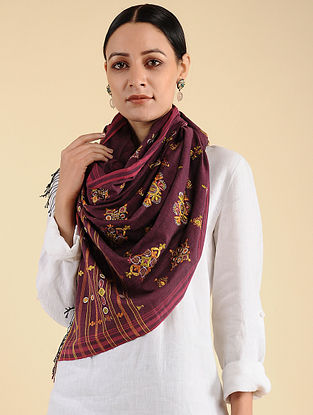 Maroon Ahir Embroidered Cotton Stole