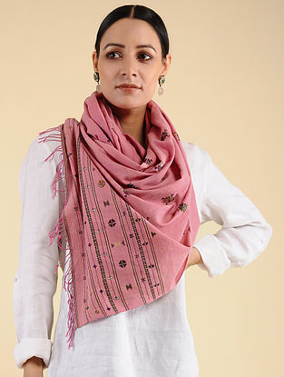 Pink Kharek Embroidered Cotton Stole