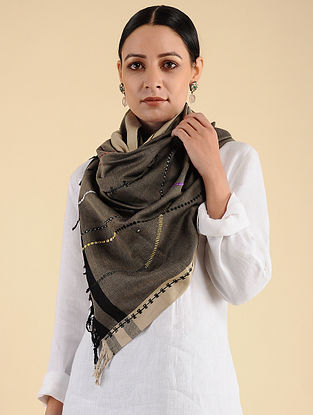 Charcoal Pakko Embroidered Maheshwari Silk Stole