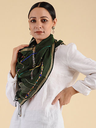 Green Neran Embroidered Maheshwari Stole