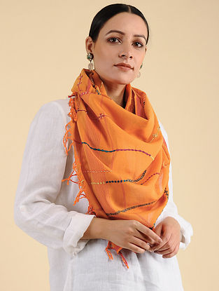 Orange Pakko Embroidered Maheshwari Silk Stole