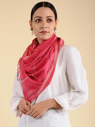 Pink Pakko Embroidered Maheshwari Silk Stole