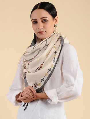 Off White Pakko Embroidered Maheshwari Silk Stole