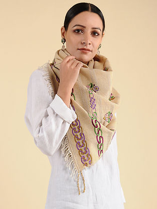 Beige Pakko Embroidered Tussar Wool Stole