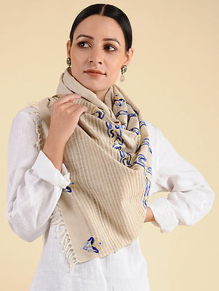Beige-Blue Pakko Embroidered Tussar Wool Stole
