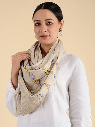 Ivory Pakko Embroidered Tussar Wool Stole