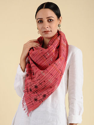 Pink-Red Khuditebha Embroidered Wool Stole