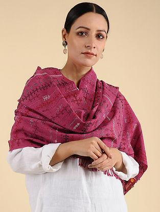 Pink Khuditebha Embroidered Wool Stole