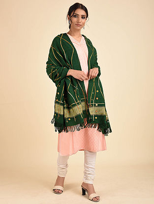 Dark Green Pakko Embroidered Wool Shawl