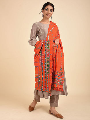 Orange Pakko Embroidered Wool Shawl