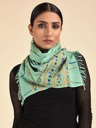 Green Pakko Embroidered Wool Muffler