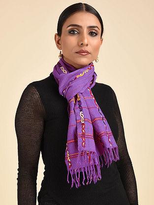 Purple Pakko Embroidered Wool Muffler