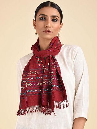 Maroon Pakko Embroidered Wool Muffler