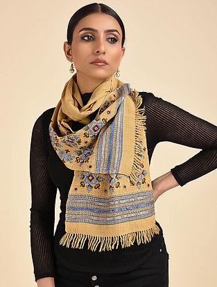 Beige-Blue Pakko Embroidered Wool Muffler