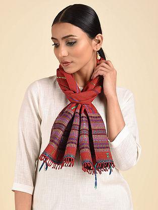 Red Pakko Embroidered Wool Muffler